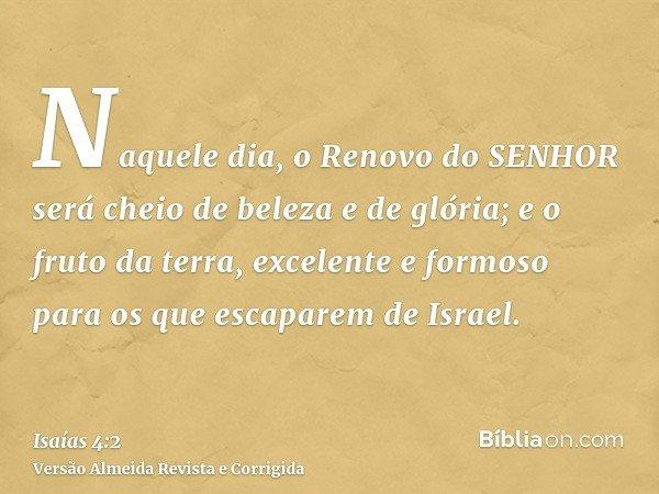 Naquele dia, o Renovo do SENHOR será cheio de beleza e de glória; e o fruto da terra, excelente e formoso para os que escaparem de Israel.