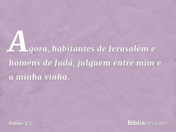 """""""Agora, habitantes de Jerusalém e homens de Judá, julguem entre mim e a minha vinha. -- Isaías 5:3"""