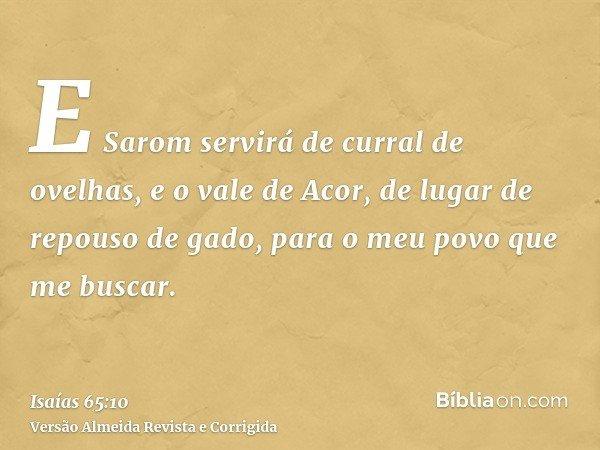 E Sarom servirá de curral de ovelhas, e o vale de Acor, de lugar de repouso de gado, para o meu povo que me buscar.