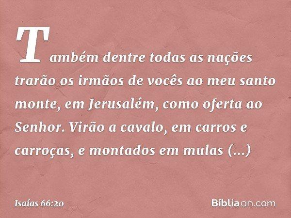 Também dentre todas as nações trarão os irmãos de vocês ao meu santo monte, em Jerusalém, como oferta ao Senhor. Virão a cavalo, em carros e carroças, e montado