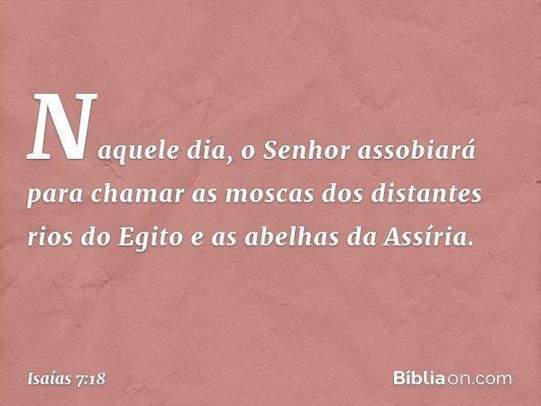 Naquele dia, o Senhor assobiará para chamar as moscas dos distantes rios do Egito e as abelhas da Assíria. -- Isaías 7:18