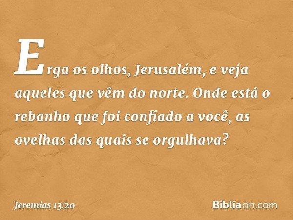 Erga os olhos, Jerusalém, e veja aqueles que vêm do norte. Onde está o rebanho que foi confiado a você, as ovelhas das quais se orgulhava? -- Jeremias 13:20