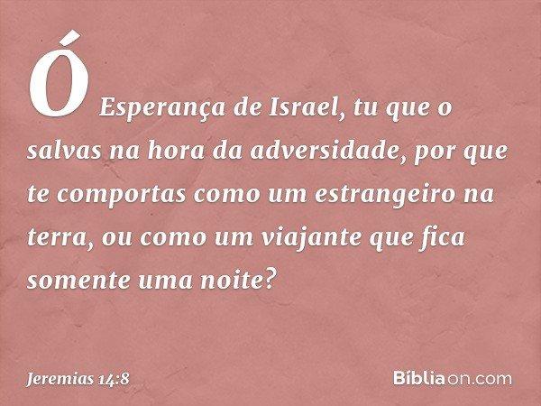 Ó Esperança de Israel, tu que o salvas na hora da adversidade, por que te comportas como um estrangeiro na terra, ou como um viajante que fica somente uma noite