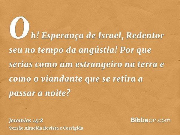 Oh! Esperança de Israel, Redentor seu no tempo da angústia! Por que serias como um estrangeiro na terra e como o viandante que se retira a passar a noite?