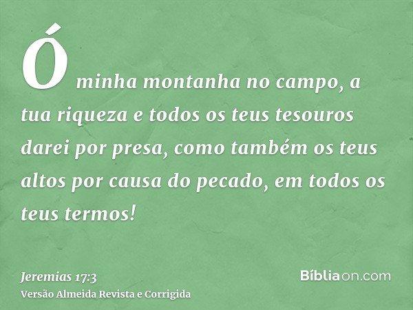 Ó minha montanha no campo, a tua riqueza e todos os teus tesouros darei por presa, como também os teus altos por causa do pecado, em todos os teus termos!