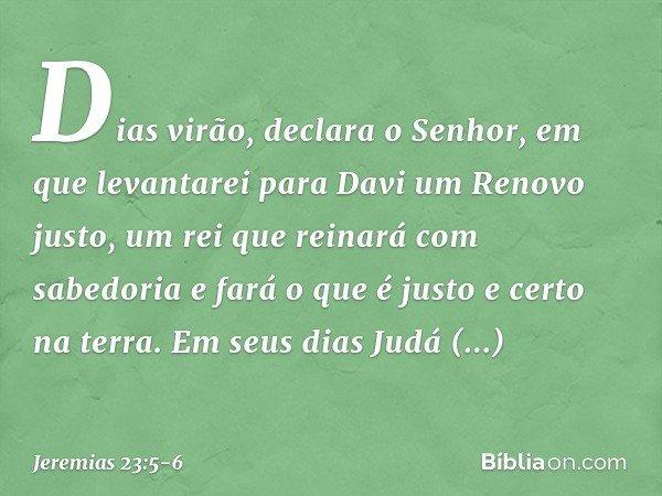 """""""Dias virão"""", declara o Senhor, """"em que levantarei para Davi um Renovo justo, um rei que reinará com sabedoria e fará o que é justo e certo na terra. Em seus di"""