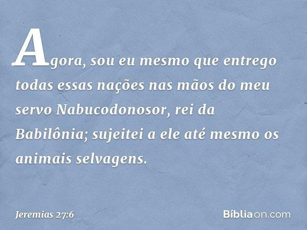 Agora, sou eu mesmo que entrego todas essas nações nas mãos do meu servo Nabucodonosor, rei da Babilônia; sujeitei a ele até mesmo os animais selvagens. -- Jere