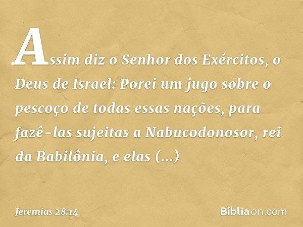 Assim diz o Senhor dos Exércitos, o Deus de Israel: Porei um jugo sobre o pescoço de todas essas nações, para fazê-las sujeitas a Nabucodonosor, rei da Babilôni
