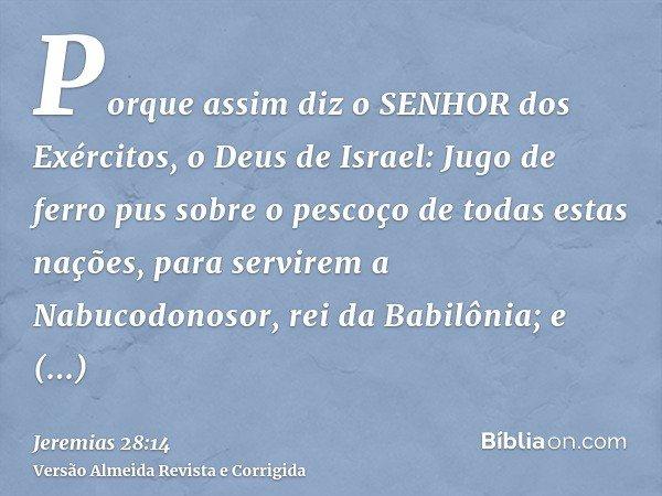 Porque assim diz o SENHOR dos Exércitos, o Deus de Israel: Jugo de ferro pus sobre o pescoço de todas estas nações, para servirem a Nabucodonosor, rei da Babilô