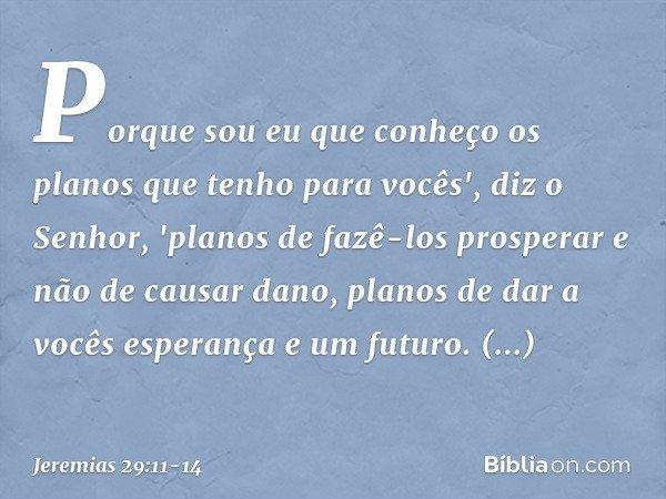 Porque sou eu que conheço os planos que tenho para vocês', diz o Senhor, 'planos de fazê-los prosperar e não de causar dano, planos de dar a vocês esperança e u