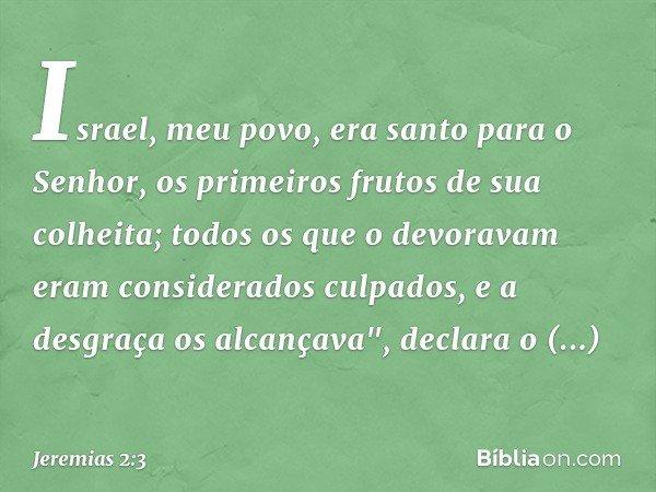 Israel, meu povo, era santo para o Senhor, os primeiros frutos de sua colheita; todos os que o devoravam eram considerados culpados, e a desgraça os alcançava