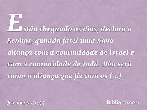 """""""Estão chegando os dias"""", declara o Senhor, """"quando farei uma nova aliança com a comunidade de Israel e com a comunidade de Judá. Não será como a aliança que fi"""