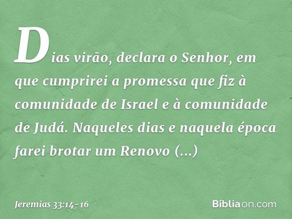 """""""Dias virão"""", declara o Senhor, """"em que cumprirei a promessa que fiz à comunidade de Israel e à comunidade de Judá. """"Naqueles dias e naquela época farei brotar"""