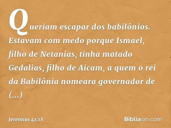 Queriam escapar dos babilônios. Estavam com medo porque Ismael, filho de Netanias, tinha matado Gedalias, filho de Aicam, a quem o rei da Babilônia nomeara gove