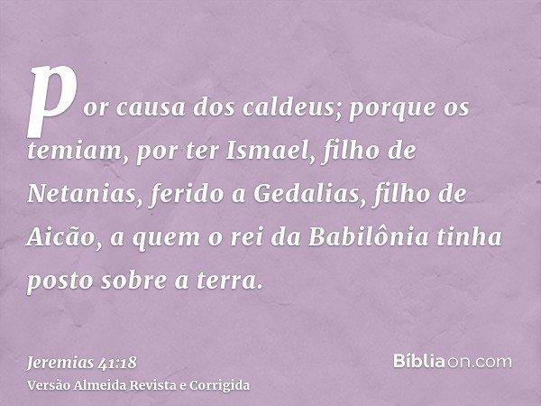por causa dos caldeus; porque os temiam, por ter Ismael, filho de Netanias, ferido a Gedalias, filho de Aicão, a quem o rei da Babilônia tinha posto sobre a ter
