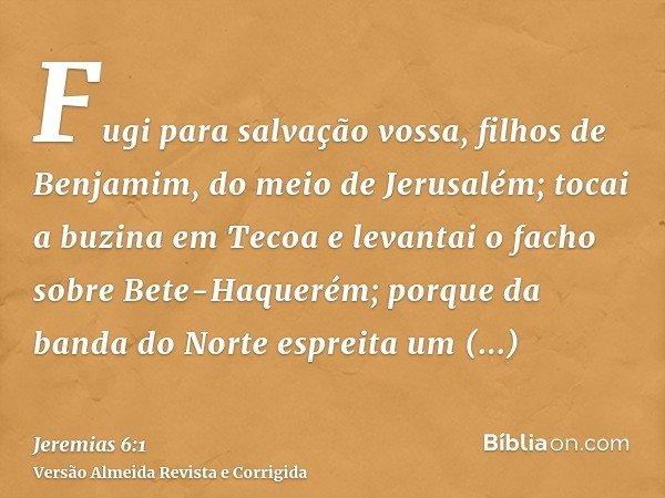 Fugi para salvação vossa, filhos de Benjamim, do meio de Jerusalém; tocai a buzina em Tecoa e levantai o facho sobre Bete-Haquerém; porque da banda do Norte esp