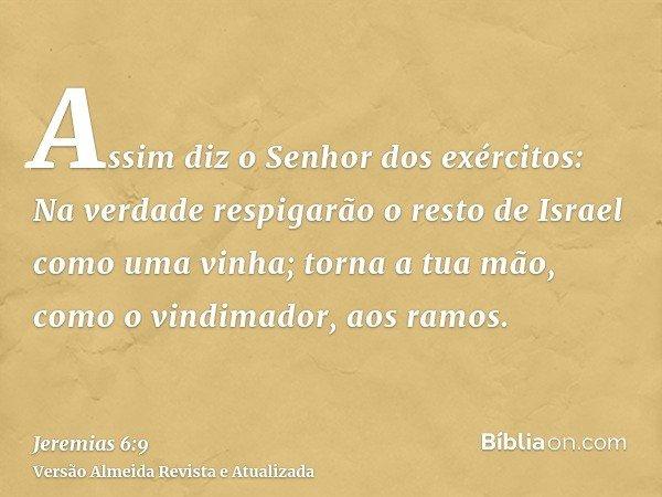 Assim diz o Senhor dos exércitos: Na verdade respigarão o resto de Israel como uma vinha; torna a tua mão, como o vindimador, aos ramos.