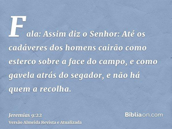 Fala: Assim diz o Senhor: Até os cadáveres dos homens cairão como esterco sobre a face do campo, e como gavela atrás do segador, e não há quem a recolha.