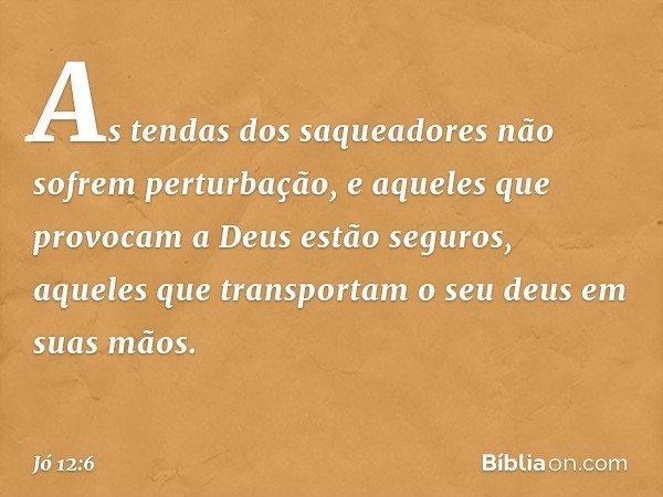 As tendas dos saqueadores não sofrem perturbação, e aqueles que provocam a Deus estão seguros, aqueles que transportam o seu deus em suas mãos. -- Jó 12:6