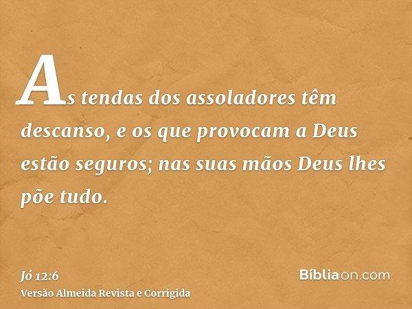 As tendas dos assoladores têm descanso, e os que provocam a Deus estão seguros; nas suas mãos Deus lhes põe tudo.