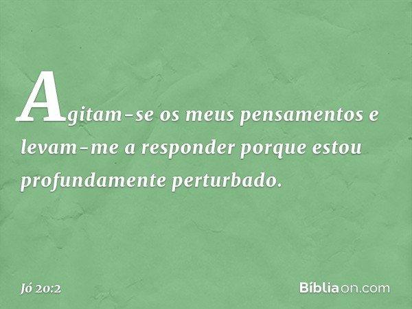 """""""Agitam-se os meus pensamentos e levam-me a responder porque estou profundamente perturbado. -- Jó 20:2"""