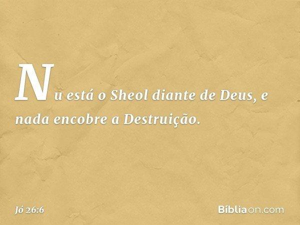 Nu está o Sheol diante de Deus, e nada encobre a Destruição. -- Jó 26:6