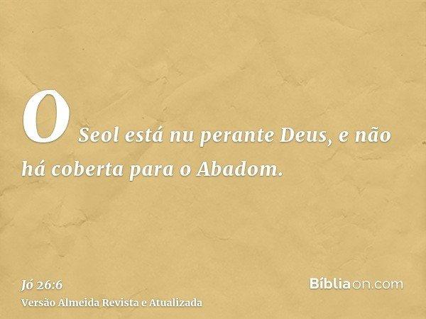 O Seol está nu perante Deus, e não há coberta para o Abadom.