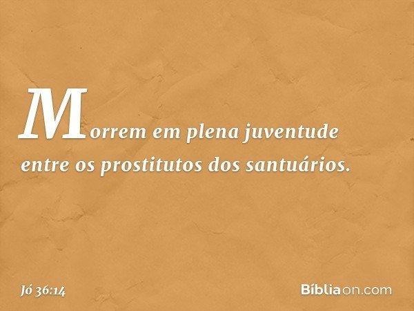 Morrem em plena juventude entre os prostitutos dos santuários. -- Jó 36:14