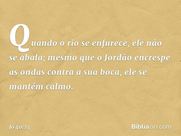 Quando o rio se enfurece, ele não se abala; mesmo que o Jordão encrespe as ondas contra a sua boca, ele se mantém calmo. -- Jó 40:23