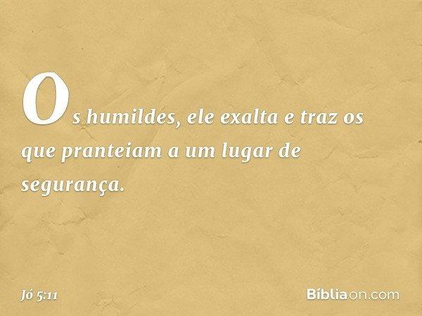 Os humildes, ele exalta e traz os que pranteiam a um lugar de segurança. -- Jó 5:11