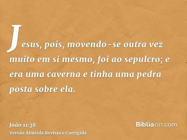 Jesus, pois, movendo-se outra vez muito em si mesmo, foi ao sepulcro; e era uma caverna e tinha uma pedra posta sobre ela.
