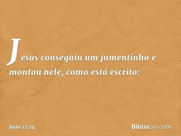 Jesus conseguiu um jumentinho e montou nele, como está escrito: -- João 12:14