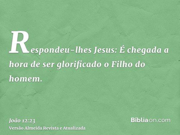Respondeu-lhes Jesus: É chegada a hora de ser glorificado o Filho do homem.