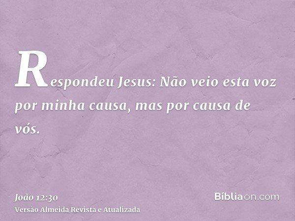 Respondeu Jesus: Não veio esta voz por minha causa, mas por causa de vós.