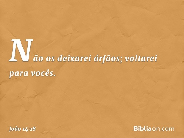 Não os deixarei órfãos; voltarei para vocês. -- João 14:18