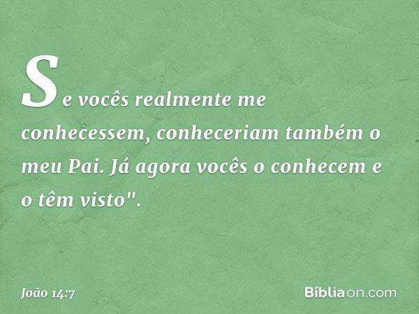 """Se vocês realmente me conhecessem, conheceriam também o meu Pai. Já agora vocês o conhecem e o têm visto"""". -- João 14:7"""