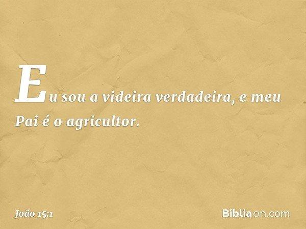 """""""Eu sou a videira verdadeira, e meu Pai é o agricultor. -- João 15:1"""