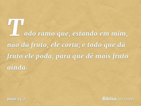 Todo ramo que, estando em mim, não dá fruto, ele corta; e todo que dá fruto ele poda, para que dê mais fruto ainda. -- João 15:2