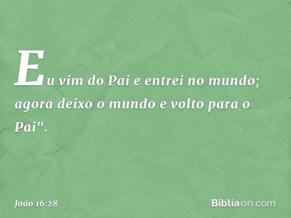 """Eu vim do Pai e entrei no mundo; agora deixo o mundo e volto para o Pai"""". -- João 16:28"""