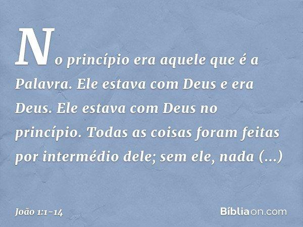 No princípio era aquele que é a Palavra. Ele estava com Deus e era Deus. Ele estava com Deus no princípio. Todas as coisas foram feitas por intermédio dele; sem