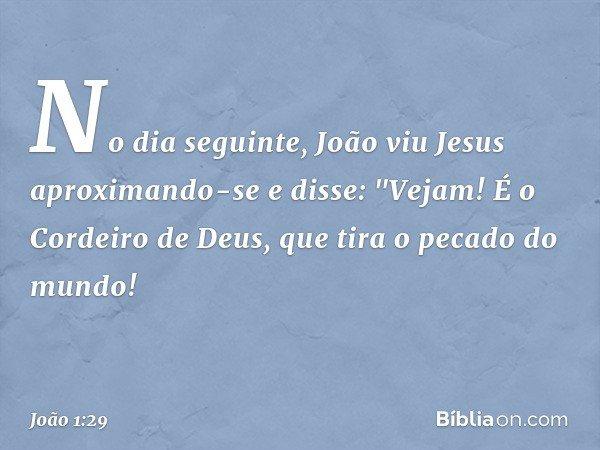 No dia seguinte, João viu Jesus aproximando-se e disse: