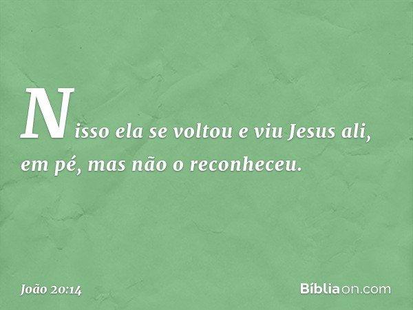 Nisso ela se voltou e viu Jesus ali, em pé, mas não o reconheceu. -- João 20:14