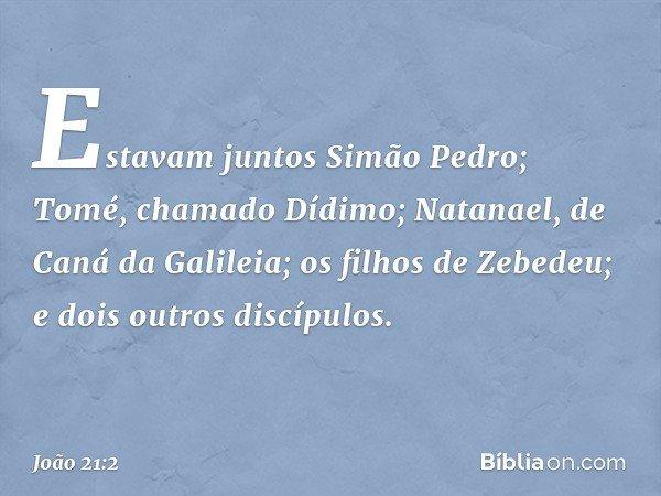 Estavam juntos Simão Pedro; Tomé, chamado Dídimo; Natanael, de Caná da Galileia; os filhos de Zebedeu; e dois outros discípulos. -- João 21:2
