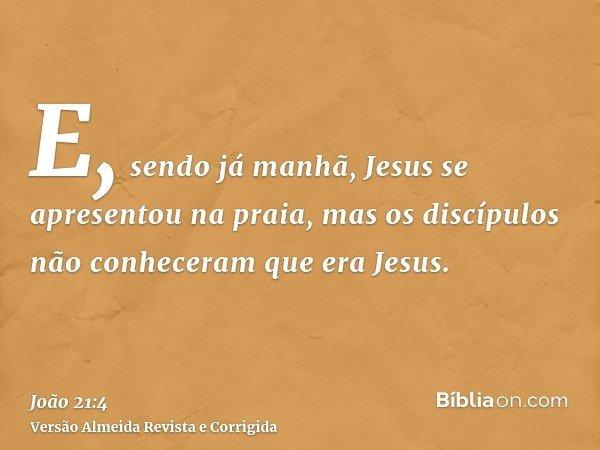 E, sendo já manhã, Jesus se apresentou na praia, mas os discípulos não conheceram que era Jesus.