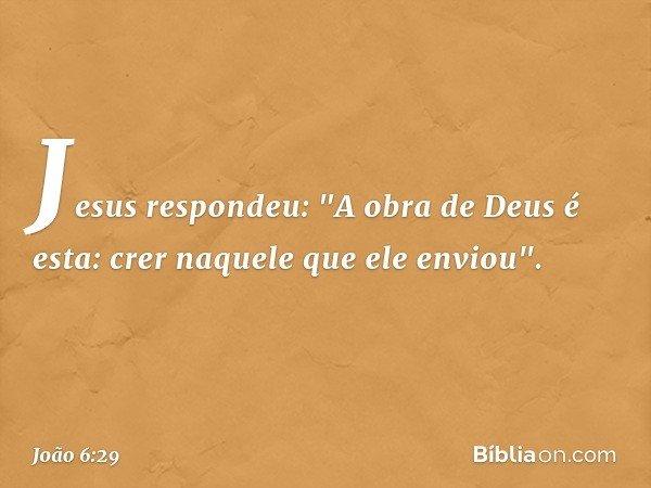 """Jesus respondeu: """"A obra de Deus é esta: crer naquele que ele enviou"""". -- João 6:29"""