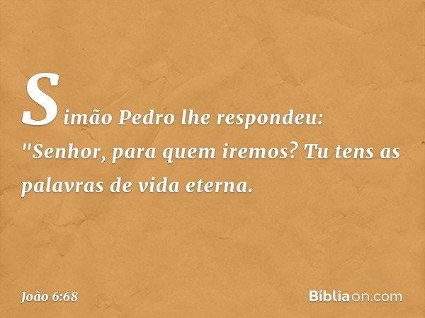 """Simão Pedro lhe respondeu: """"Senhor, para quem iremos? Tu tens as palavras de vida eterna. -- João 6:68"""