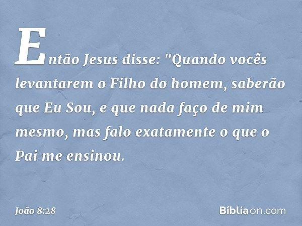 """Então Jesus disse: """"Quando vocês levantarem o Filho do homem, saberão que Eu Sou, e que nada faço de mim mesmo, mas falo exatamente o que o Pai me ensinou. -- J"""