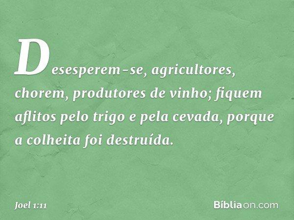 Desesperem-se, agricultores, chorem, produtores de vinho; fiquem aflitos pelo trigo e pela cevada, porque a colheita foi destruída. -- Joel 1:11