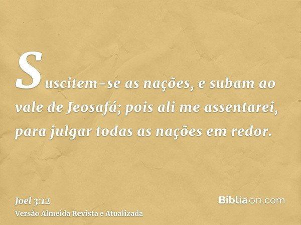 Suscitem-se as nações, e subam ao vale de Jeosafá; pois ali me assentarei, para julgar todas as nações em redor.
