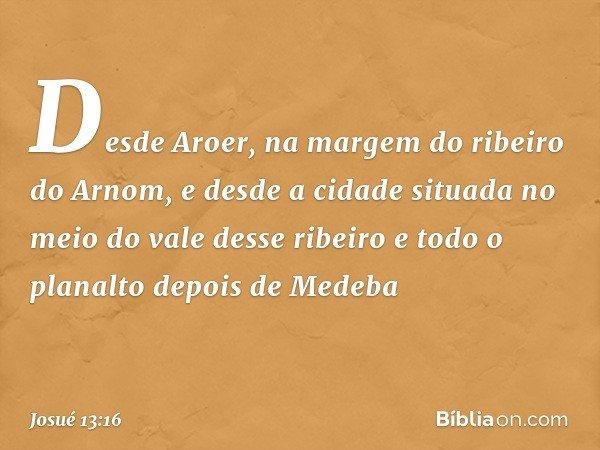 Desde Aroer, na margem do ribeiro do Arnom, e desde a cidade situada no meio do vale desse ribeiro e todo o planalto depois de Medeba -- Josué 13:16